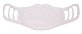 A washable and reusable polyester white color printed cloth face mask for kids, with three ear holes by each side